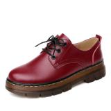 Review Pada Ala Inggris Sol Tebal Perempuan Sepatu Kulit Kecil Kulit Sepatu Arak Anggur Warna