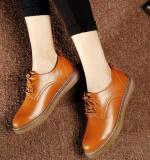 Promo Sepatu Kulit Wanita Anti Slip Santai Kulit Asli Gaya Inggris Coklat Coklat Tiongkok