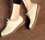 Jual Sepatu Kulit Wanita Anti Slip Santai Kulit Asli Gaya Inggris Warna Beras Warna Beras Murah