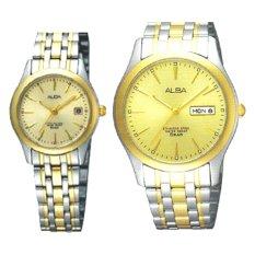 Alba - Jam Tangan Pria & Wanita - Silver Gold - Strap Stainless Steel - AXND48 & AXT852 - Pasangan