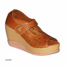 Spesifikasi Aldhino Sepatu Sandal Wedges Wanita Mgs 01 Tan Paling Bagus