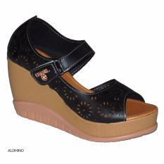 Miliki Segera Aldhino Sepatu Sandal Wedges Wanita Mgs 03 Hitam