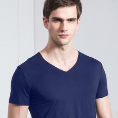 Aldrich Kaos Pria V Leher Lebar Baju Dalaman Modal Lengan Bang Pendek (Safir Biru)