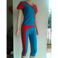 Aleizha Baju Senam bahan Full Cotton Spandex Super - Biru Merah