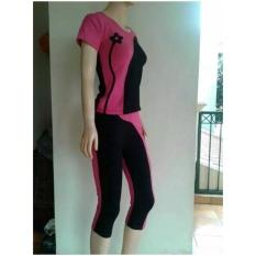Aleizha Baju Senam bahan Full Cotton Spandex Super - Pink Hitam