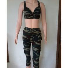 Aleizha Baju Senam Bahan Full Cotton Spandex Super - Set Army 3/4
