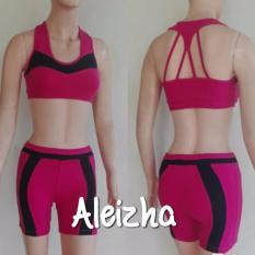Aleizha Set Baju Senam Celana Bra Pink Hitam