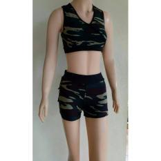 Aleizha Set Baju Senam Hotpant Bra - Army