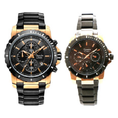 Alexandre Christie - Jam Tangan Couple - Hitam-Rosegold - Stainless Steel - AC 6141CRG