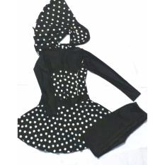 Baju Renang Muslimah Dewasa Hitam Polkadot