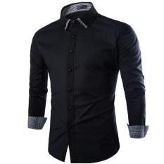 Spesifikasi Algren Style Kemeja Pria Tab Lengan Panjang Hitam Slimfit Casual Polos Paling Bagus