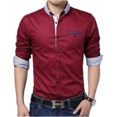 Beli Algren Style Kemeja Pria Bouduin Maroon Algren Dengan Harga Terjangkau