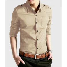 Algren Baju Hem Kemeja Pria Bray lengan panjang - Khaki / Regular fit / Casual / Polos / Kerja / Kantor / Katun / Kem / Atasan / Pakaian
