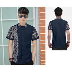 Toko Algren Style Kemeja Pria Dios Combi Batik Navy Tipe02 Termurah