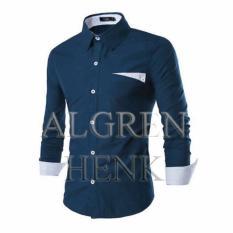 Algren Baju Hem Kemeja Pria Henk lengan panjang - Biru Navy / Slim fit / Casual / Polos / Kerja / Kantor / Katun / Kem / Atasan / Pakaian