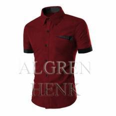 Ulasan Lengkap Tentang Algren Style Kemeja Pria Henk Lengan Pendek Maroon Slimfit Casual Polos
