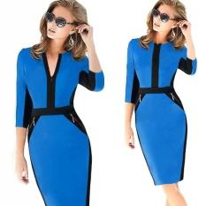 AliExpress Di Eropa dan New Fall Pakaian Ladies Tak Berlengan Ritsleting Dress Pensil Rok S-XXL Temperamen Ribuan Burung -Intl
