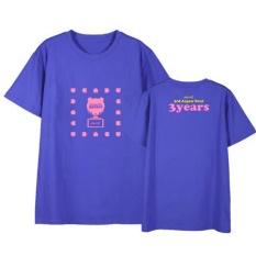 Apink Yang Pink 3 Tahun Album Shirts Hip Hop Kasual Longgar Pakaian T-shirt T-shirt Lengan Pendek Tops T-shirt Dx523 (biru Tua) -Intl