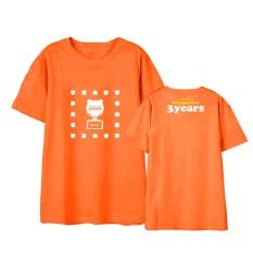 Apink Yang Pink 3 Tahun Album Shirts Hip Hop Kasual Longgar Pakaian T-shirt T-shirt Lengan Pendek Tops T-shirt DX523 (Orange) -Intl