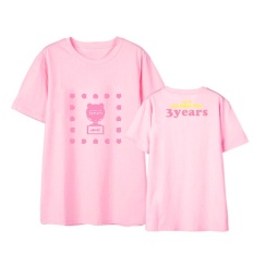 Apink Yang Pink 3 Tahun Album Shirts Hip Hop Kasual Longgar Pakaian T-shirt T-shirt Lengan Pendek Tops T-shirt DX523 (Pink) -Intl