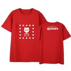 Apink Yang Pink 3 Tahun Album Shirts Hip Hop Kasual Longgar Pakaian T-shirt T-shirt Lengan Pendek Tops T-shirt DX523 (merah) -Intl