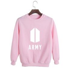 Korea Fashion BTS Bangtan Boys 2017 Album Baru AMRY LOGO Katun Hoodies Pullover Sweatshirt Kemeja PT554 (ARMY Pink) -Intl