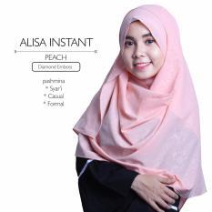 Harga Erloz Hijab Alisa Pashmina Instan Peach Yang Murah