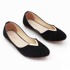 Pluvia - Sepatu Flat Shoes Wanita RS04 - Hitam
