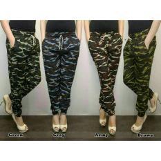All Size Fit To L Celana Jogger/Joger Pants Bahan Strech Loreng Army Cewek Panjang