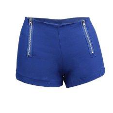 Allwin Pinggang Tengah Celana Denim Wanita Warna Permen Jin Pendek Wanita Jeans Pelangsing S Biru (Warna: Seperti Gambar Pertama)-Intl