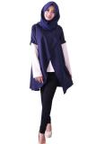 Jual Beli Alona Baju Atasan Wanita Lengan Panjang 2 Lapis Katun Solid Biru Navy