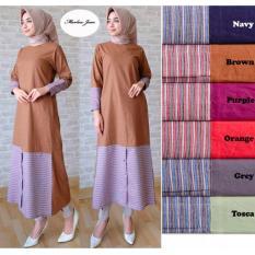 Alona Dress Muslim Baju Muslim Wanita Baju Gamis Wanita 2 Warna Bahan Katun - Ungu
