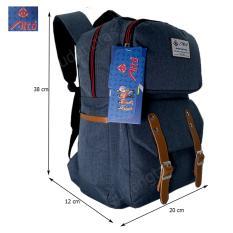 Alto Tas Backpack Kanvas / Sekolah / Remaja / Ransel Kuliah / Korean Bag 78251 - Blue