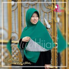 Alwa Hijab Jilbab Segi Empat Bolak Balik Premium Bergaransi - Emerald dan Light Silver