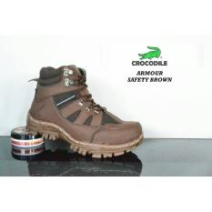 AM_Sepatu Boots Pria Safety Crocodile Armour Ujung Besi Hiking Touring_Coklat