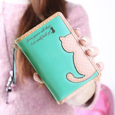 Spesifikasi Amart Kucing Kartun Dompet Cute Wanita Dompet Billfold Clutch Tas Tangan Hijau Muda Intl Yang Bagus