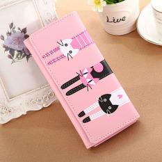 Dompet Kartun Kucing Amart For Penyimpanan Kartu And Koin Berbahan PU Kulit (Pink)-Intl