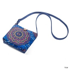 Amart Fashion Tas Wanita Bergaya Etnik Shoulder Bags Canvas Adjustable Strap Dicetak Handbag Casual Messenger Bag