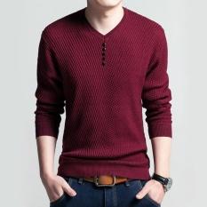 Review Toko Amart Fashion Kemeja Rajut Musim Gugur Musim Dingin Pria Wol Rajut Berwarna Solid Leher V Sweater Lengan Panjang Kasual Nyaman Sweater Merah Intl Online