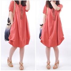 Amart Fashion Korean Summer Women Dresses Cotton Short O Neck Casual Loose Ruffle Dress(Red) - intl