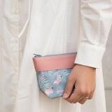 Spesifikasi Amart Fashion Tas Wanita Korea Tas Makeup Kit Jahit Tas Genggam Dompet Koin Kanvas Bercetak Bunga Daun Flamingos Bagus