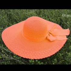 Jual Amart Fashion Summer Casual Bowknot Straw Wide Brim Sun Block Topi Pantai Amart Branded