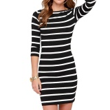 Situs Review Amart Fashion Gaun Musim Panas Wanita Turun Lengan Kuartal Tiga Horizontal Striped O Neck Splice Warna Kasual Slim Dress Hitam Intl