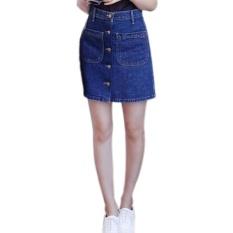 Beli Amart Fashion Rok Panas Musim Wanita Berpinggang Tinggi With Saku Dada Depan Tunggal Rok Pensil Denim Jeans Vintage Biru Tua Online Murah
