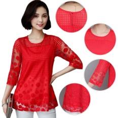 Amart Fashion Blus Musim Panas Wanita Berenda Berlengan 3 4 Berongga Leher O Intl Original