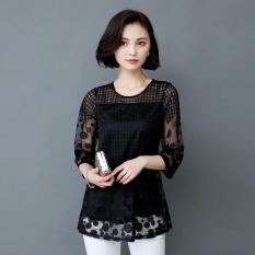 Toko Amart Fashion Blus Musim Panas Wanita Berenda Berlengan 3 4 Berongga Leher O Di Tiongkok