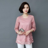 Spesifikasi Amart Fashion Blus Musim Panas Wanita Berenda Berlengan 3 4 Berongga Leher O Amart