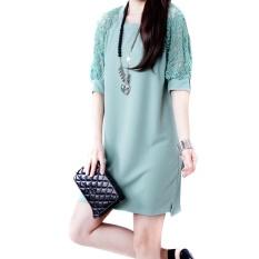 Harga Amart Fashion Gaun Mini Musim Panas Untuk Wanita China Gaun Lurus Longgar Berlengan Renda Setengah Leher O