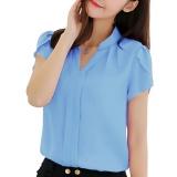 Toko Amart Fashion Kemeja Musim Panas Wanita Blus Jersey Rayon Kasual Longgar Lengan Bang Pendek Biru Online Terpercaya