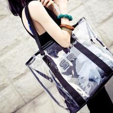 Amart Fashion Tas Pantai Wanita Permen Jelly Bening Transparan (hitam)-Intl